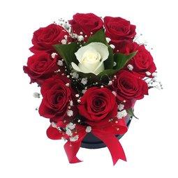 9 trandafiri in cutie