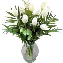 Buchet 11 lalele albe cu gypsophila