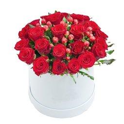 Cutie alba cu trandafiri si hypericum