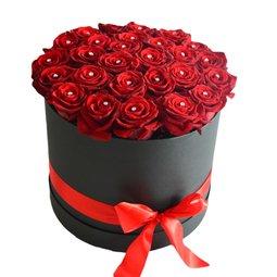 Cutie trandafiri rosii cu perle simulate