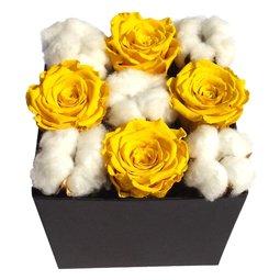 Trandafiri stabilizati galbeni si flori de bumbac