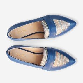 Balerini albastri din piele naturala Allison
