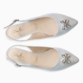 Balerini argintii din piele naturala Cosette