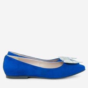 Balerini din piele naturala albastru electric Sally