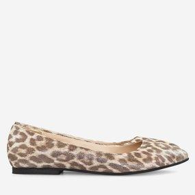 Balerini din piele naturala cu print leopard Fergie