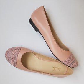 Balerini din piele naturala roz Lollipop