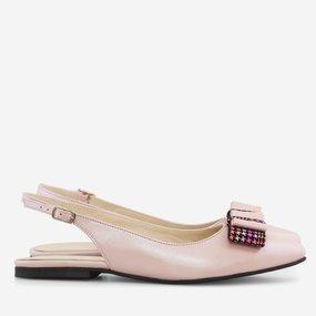 Balerini din piele naturala roz sidef Leonita