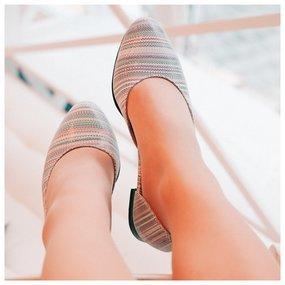Balerini din piele naturala Summer Stripes
