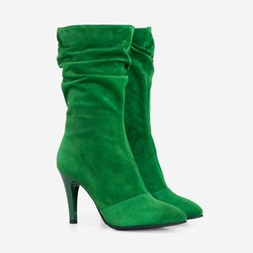 Cizme dama din piele naturala verde Cayenne