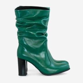Cizme dama din piele naturala verde Faustina