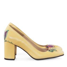 Pantofi dama din piele naturala galben Avery pictati manual