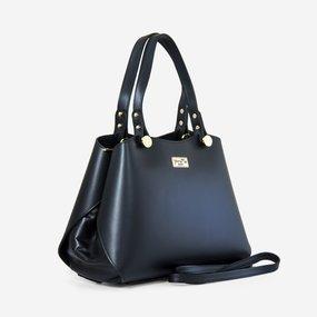 Geanta dama din piele naturala neagra Zara