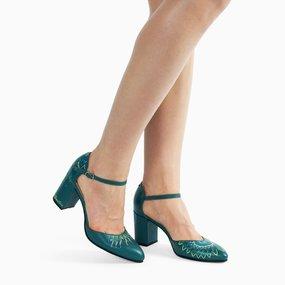 Pantofi Ariyanna din piele naturala verde