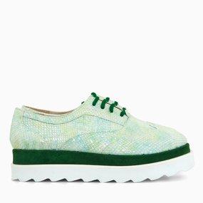 Pantofi casual din piele naturala verde Olive