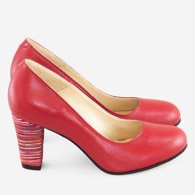 Pantofi comozi din piele naturala rosie Cherry Stripes