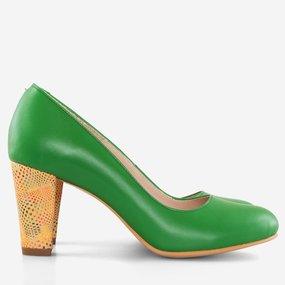 Pantofi comozi din piele naturala verde April