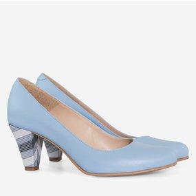 Pantofi cu toc comod din piele naturala bleu Adelle