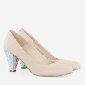 Pantofi cu toc comod din piele naturala nude Julieta
