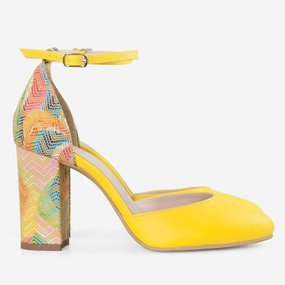 Pantofi cu toc din piele naturala galbena Joplin