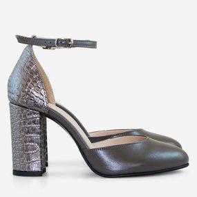 Pantofi cu toc din piele naturala gri Adrianne