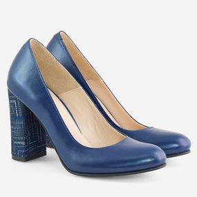 Pantofi cu toc gros din piele naturala bleumarin Ellington