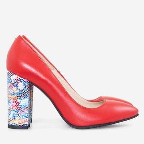 Pantofi cu toc gros din piele naturala rosie Luana