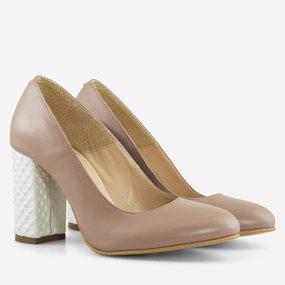 Pantofi cu toc gros din piele naturala grej Muse