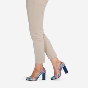 Pantofi cu toc gros din piele naturala imprimata Mariko