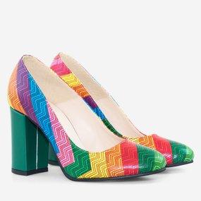 Pantofi cu toc gros din piele naturala imprimata Rainbow