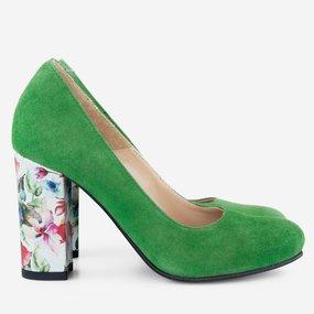 Pantofi cu toc gros din piele naturala verde Karina