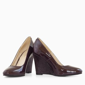 Pantofi cu toc ortopedic din lac bordo Plum