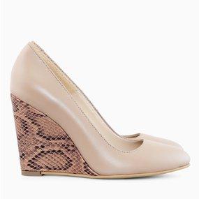 Pantofi cu toc ortopedic din piele camel Celina