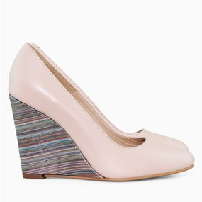 Pantofi cu toc ortopedic din piele somon Corinne