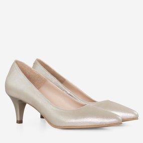 Pantofi dama cu toc comod din piele naturala aurie Alexia