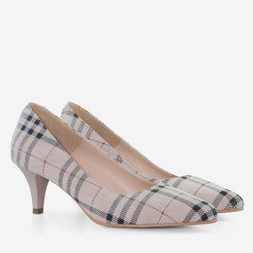 Pantofi dama cu toc comod din piele naturala bej Margaret