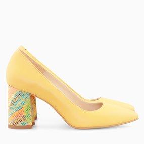 Pantofi dama cu toc comod din piele naturala galbena Erika