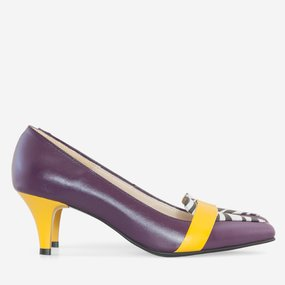 Pantofi dama cu toc comod din piele naturala mov Armina