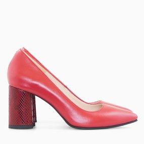 Pantofi dama cu toc comod din piele naturala rosie Mattie