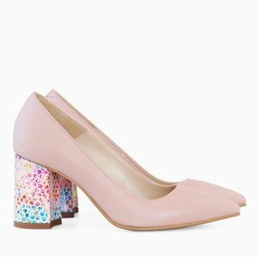 Pantofi dama cu toc comod din piele naturala roz Celia