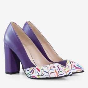 Pantofi dama cu toc din piele naturala mov California