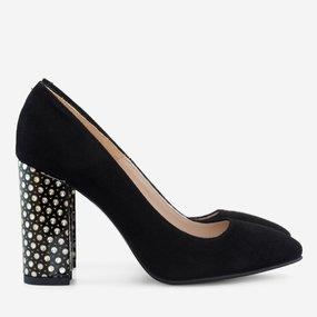 Pantofi dama cu toc din piele naturala neagra Natalia