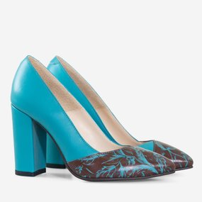 Pantofi dama cu toc din piele naturala turqoise Antuca