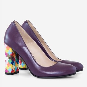 Pantofi dama cu toc gros din piele naturala mov Dalila