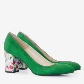 Pantofi dama din piele intoarsa verde Katia