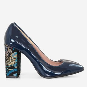 Pantofi dama din piele lacuita bleumarin Georgia
