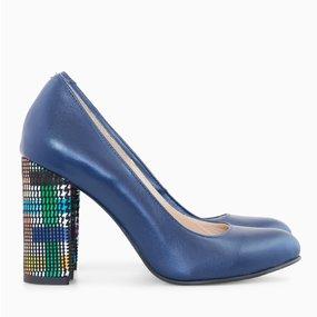 Pantofi dama din piele naturala bleumarin Katrina