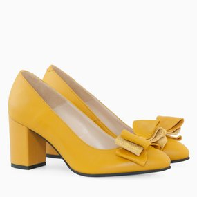 Pantofi dama din piele naturala galbena Stephanie