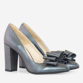 Pantofi dama din piele naturala gri antracit Bernadette