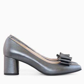 Pantofi dama din piele naturala gri sidef Danette