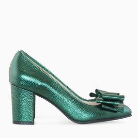 Pantofi dama din piele naturala verde Vanita